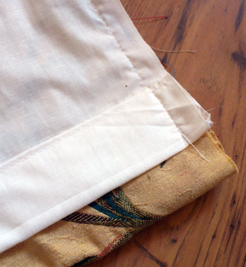 How to make lined curtains - step 7b - hem alignment