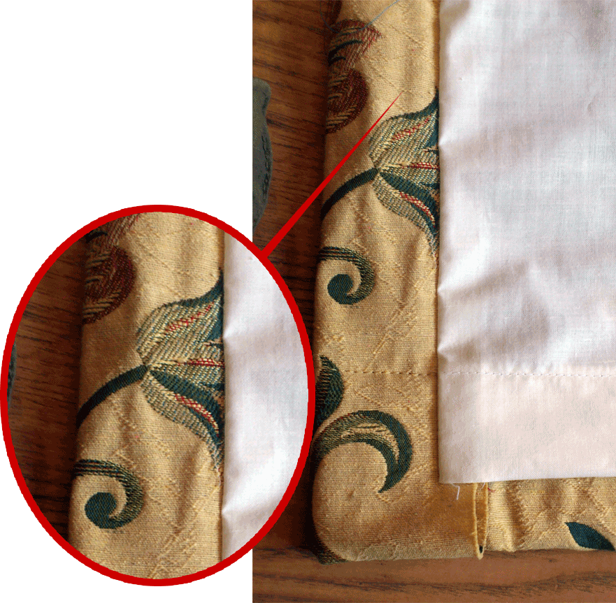 How to make lined curtains - step 7b - face fabric return