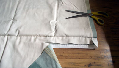 Curtain making - step 8 - trim excess fabric