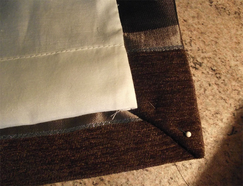 How to make lined curtains - step 7b - bottom corners